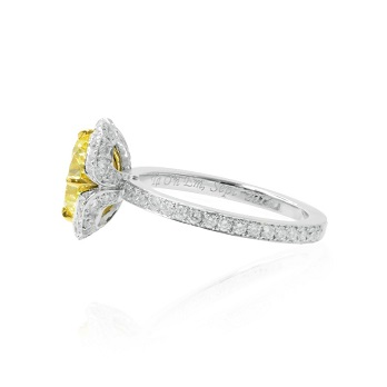 Fancy Intense Yellow Round Diamond Floral Halo Ring