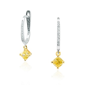 Fancy Intense Yellow Cushion Diamond Drop Earrings, SKU 134275 (1.11Ct TW)