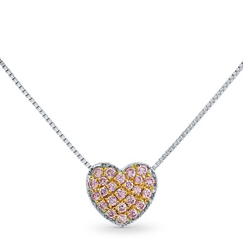 Pink Diamond Pave Heart Pendant, SKU 135566 (0.2Ct TW)