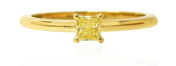Fancy Intense Yellow Princess Diamond Solitaire Ring