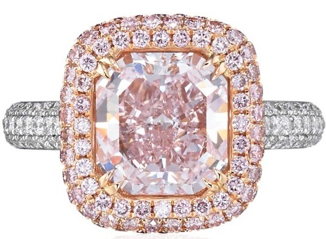 Pink diamond ring in 18k white and rose gold