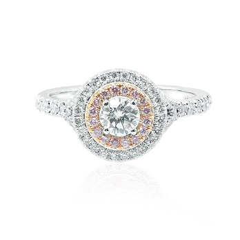 Round White and Pink Diamond Double Halo Ring