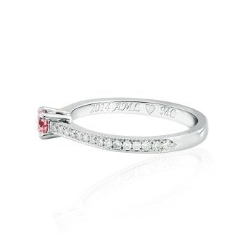 Fancy Intense Purplish Pink Round diamond and side stones ring