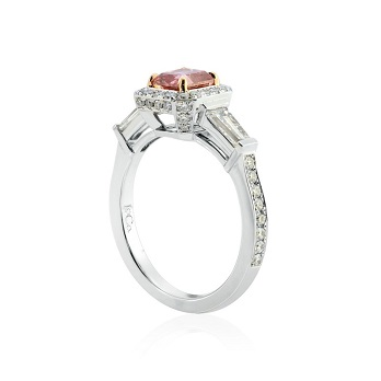 Fancy Deep Pink Radiant Diamond Halo Ring with Tapers
