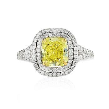 Radiant Fancy Vivid Yellow Halo Ring