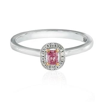 Fancy Intense Purple Pink Cushion diamond ring