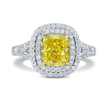 Leibish Fancy Intense Yellow Diamond Halo Ring
