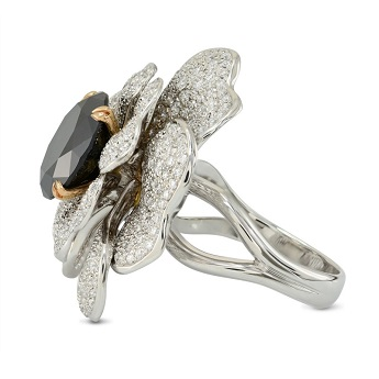 Fancy Black and Pave Diamond Flower Ring, SKU 149356 (7.25Ct TW)