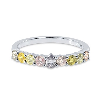 Fancy Gray-Violet Pear & Multicolored Diamond Ring, SKU 149366 (0.61Ct TW)