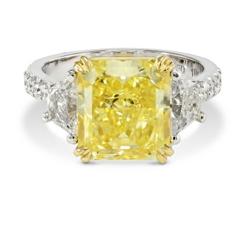 Fancy Vivid Yellow Radiant Diamond Ring with Trapezoids, SKU 151247 (5.35Ct TW)