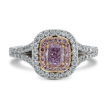 Fancy Intense Pink Purple Radiant Diamond Ring, SKU 154699 (1.06Ct TW)