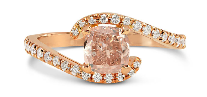 Fancy Brownish Orange Pink Cushion Diamond Cross-Over Ring (0.90Ct TW)