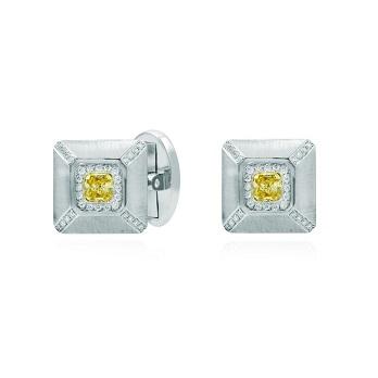 Fancy Yellow Radiant Diamond Cufflinks
