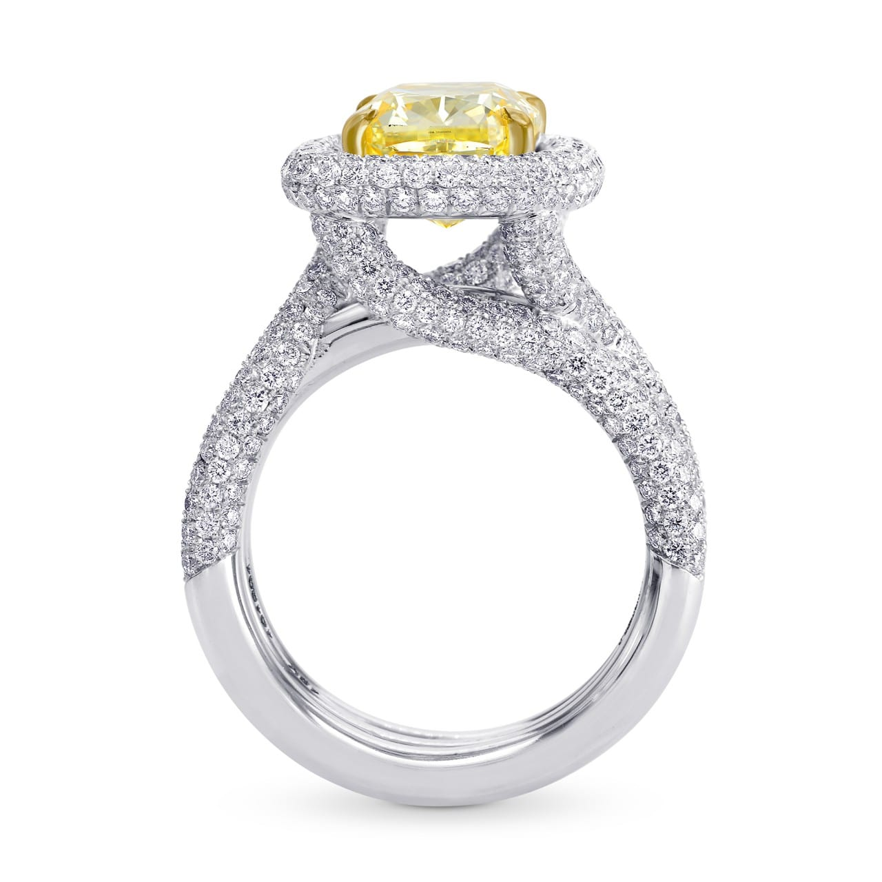 5.80ct Extraordinary Halo and Triple Band Fancy Intense Yellow Ring