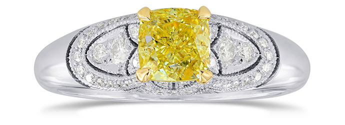 Fancy Intense Yellow Cushion Diamond Vintage Style Ring (0.95Ct TW)