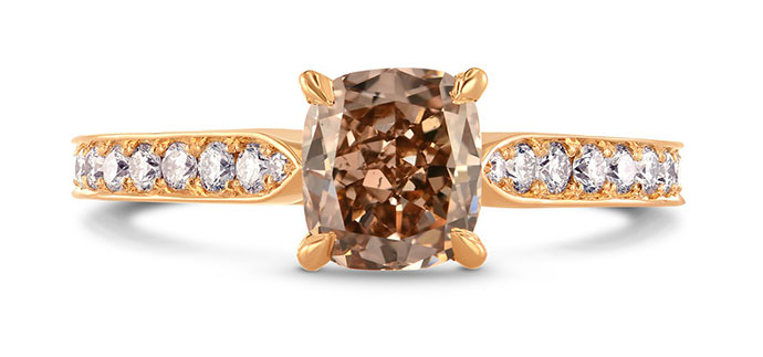 Fancy Brown Cushion & Pave Diamond Ring (1.60Ct TW)
