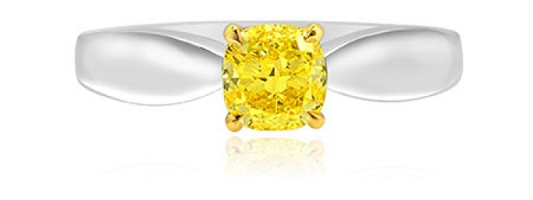 Fancy Intense Yellow Cushion Diamond Bowed Solitaire Ring