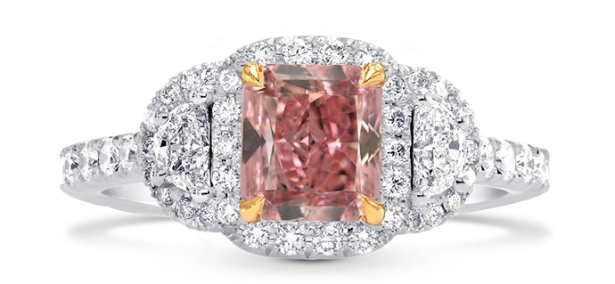 Fancy Intense Pink Radiant Diamond Ring (1.76Ct TW)