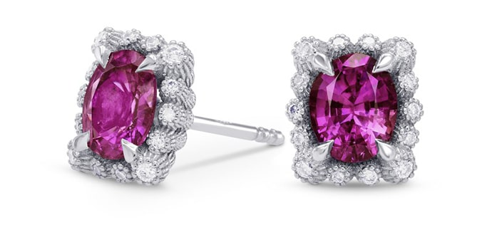 Pink Sapphire & Diamond Halo Earrings (1.56Ct TW)