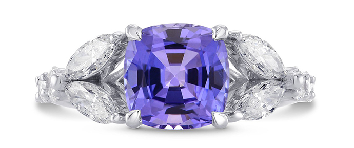 Tanzanite Cushion & Marquise Diamond Ring (3.37Ct TW)
