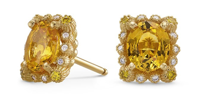 Yellow Sapphire & Diamond Halo Earrings (1.66Ct TW)