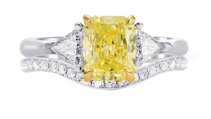 Fancy Yellow Radiant & Triangle Diamond Engagement Wedding Ring Set (1.80Ct TW)