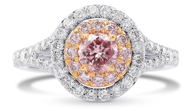 Fancy Pink Round Diamond Halo Ring (1.36Ct TW)