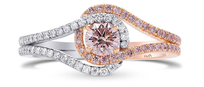 Argyle Fancy Light Orangy Pink Cushion Diamond Ring (0.51Ct TW)