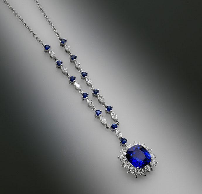 Vivid Blue Cushion Sapphire & Diamond Necklace (6.29Ct TW)
