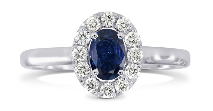 Oval Sapphire & Diamond Halo Ring, SKU 3041R (0.85Ct TW)