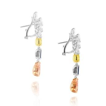 Brownish Pink Pear Diamond Sapphire and Fancy Yellow Diamond Drop Earrings, SKU 34831 (7.37Ct TW)
