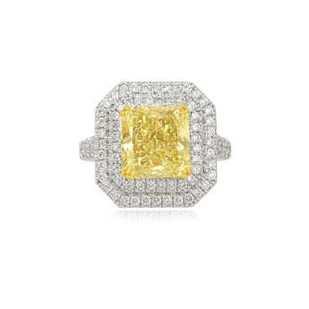 Fancy Light Yellow Radiant Diamond Double Halo Ring set in 18K white gold., SKU 34855 (6.45Ct TW)