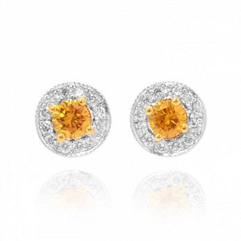 Fancy Vivid Brownish Yellowish Orange Diamond Earrings