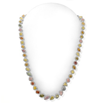 GIA Certified Multicolored Diamond Necklace, SKU 54189 (26.37Ct TW)