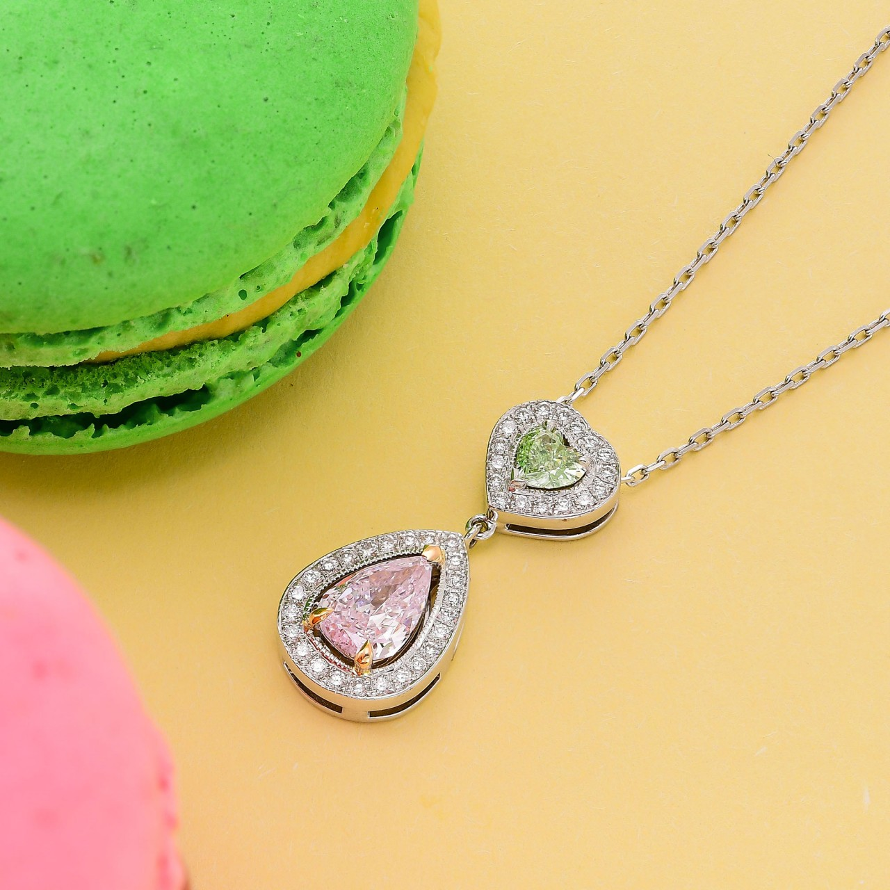 Very Light Pink Pear and Fancy Yellowish Green Heart Diamond Halo Drop Pendant (0.91Ct TW) SKU:   56374