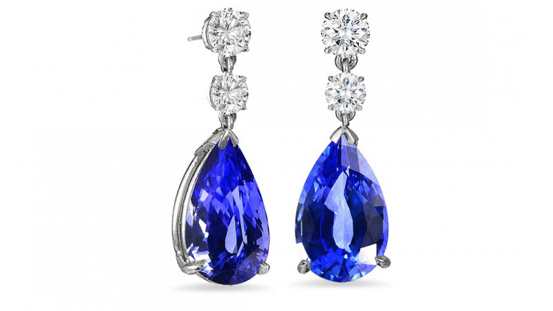 Pear Sapphire & Diamond Drop Earrings, SKU 6382R (3.52Ct TW)