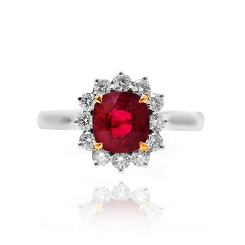 A Red Natural unheated Ruby and Diamond Ring, SKU 70382 (0.46Ct TW)