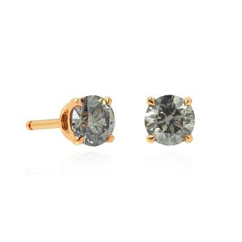Fancy Gray Round Brilliant Stud Earrings, SKU 80461