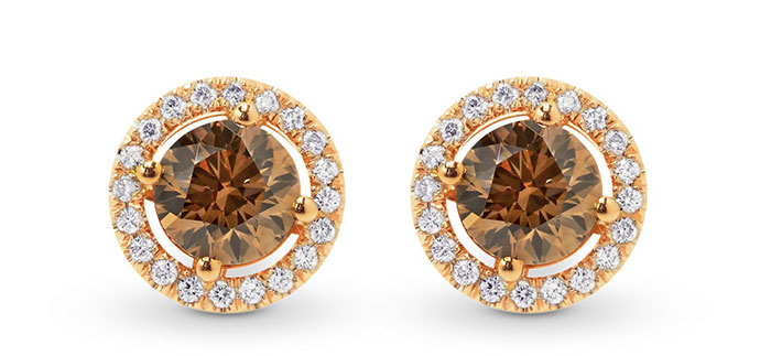 Fancy Brown Round Diamond Halo Earrings (1.48Ct TW)