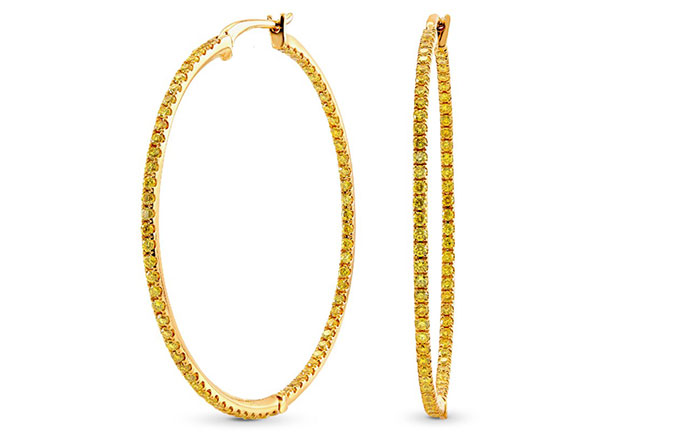 Fancy Vivid Yellow Diamond Pave Hoop Earrings weight 1.24ct set in 18K Gold (1.24Ct TW)