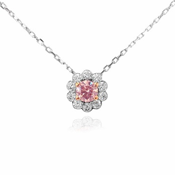 Fancy Pink Round Diamond and Pave Flower Pendant