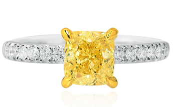 Fancy Intense Yellow Cushion Diamond Ring, SKU 92042 (1.77Ct TW)