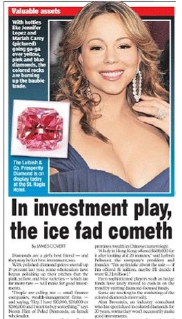 Mariah Carey in the NY Post with the Prosperity Pink Diamond