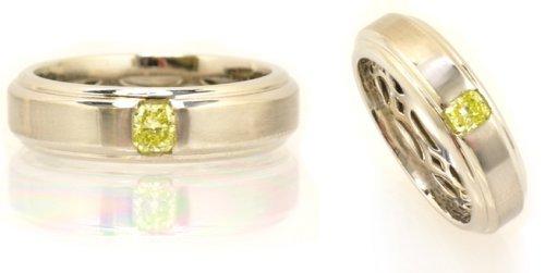 Leibish & Co. 0.26 Carat, Fancy Intense Greenish Yellow Radiant Gents Band Ring, Radiant
