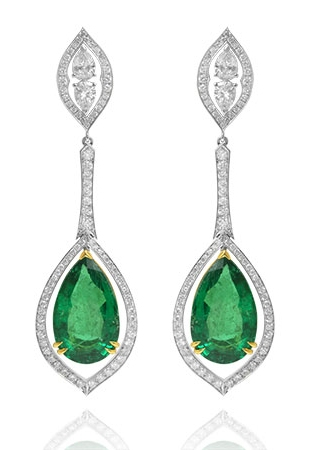Leibish & Co. Emerald Diamond Earrings