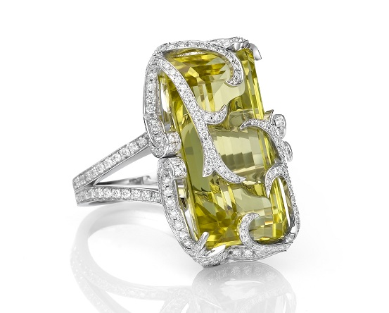 A Lemon Quartz and Diamond Ring