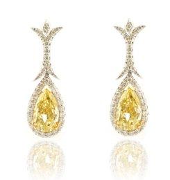Matching Fancy Yellow, Pear-shaped, Diamond Earrings