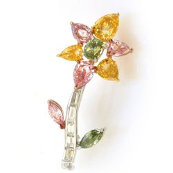 Multicolor Diamond Flower Brooch