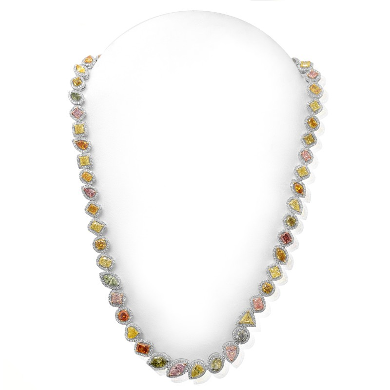 Leibish & Co. Multicolored Diamond Halo Necklace