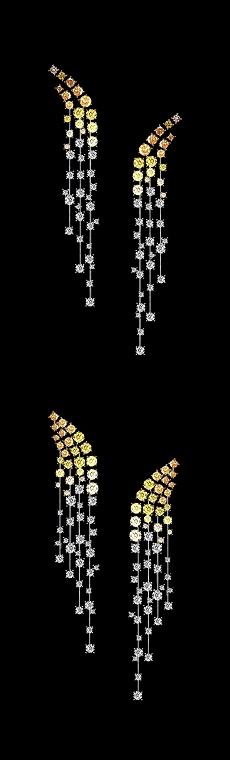Graduated Orange diamond earrings